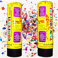 Multicolor Confetti Shooter, 16 cm, Radar TUN.8016.2, Pack of 2 pieces
