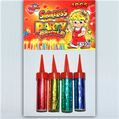 Artificii de tort colorate 5 cm, fara fum, Enigma Fireworks E1930, Set 4  buc