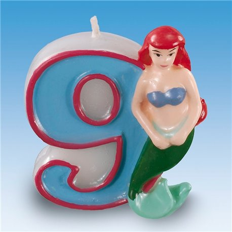 Lumanare aniversara Cifra 9 pentru tort cu Printese Disney, Amscan RM551098, 1 buc