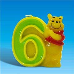 Lumanare aniversara Cifra 6 pentru tort cu Winnie the Pooh, Amscan RM551080, 1 buc