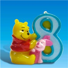 Winnie the Pooh Birthday Cake Candle Number 8, Amscan RM551082, 1 Piece