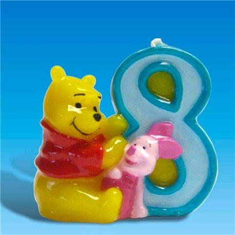 Lumanare aniversara Cifra 8 pentru tort cu Winnie the Pooh, Amscan RM551082, 1 buc