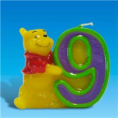 Winnie the Pooh Birthday Cake Candle Number 9, Amscan RM551083, 1 Piece