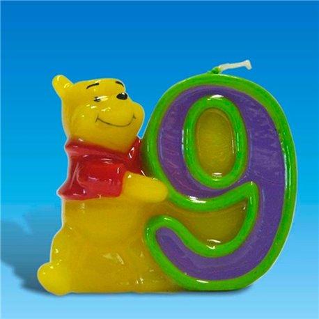 Lumanare aniversara Cifra 9 pentru tort cu Winnie the Pooh, Amscan RM551083, 1 buc