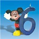 Lumanare aniversara Cifra 6 pentru tort cu Mickey Mouse, Amscan RM551105, 1 buc