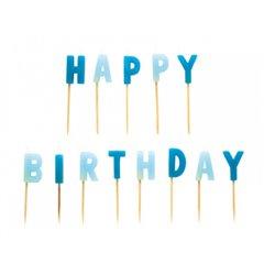Lumanari aniversare pentru tort cu mesajul Happy Birthday, Amscan RM551801, 1 Set