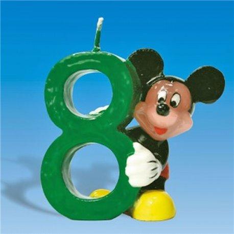 Lumanare aniversara Cifra 8 pentru tort cu Mickey Mouse, Amscan RM551107, 1 buc