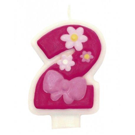 Lumanare aniversara Cifra 2 pentru tort cu floricele roz, Amscan RM551742, 1 buc