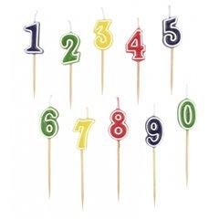 Set lumanari aniversare pentru tort, Cifre colorate 0 - 9, Amscan 552155, Set 10 buc