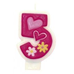 Lumanare aniversara Cifra 5 pentru tort cu floricele roz, Amscan 551745, 1 buc