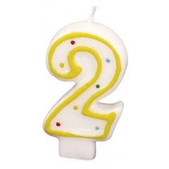 Lumanare aniversara Cifra 2 pentru tort cu buline colorate, Alb & Galben, Amscan RM550282, 1 buc