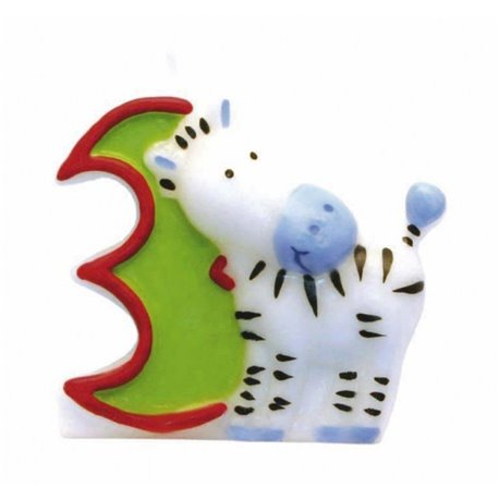 Lumanare aniversara Cifra 3 pentru tort Safari Zebra, Amscan RM551793, 1 buc