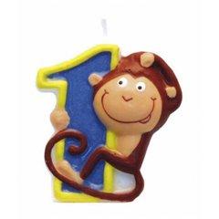 Lumanare aniversara Cifra 1 pentru tort Safari Monkey, Amscan 551791, 1 buc