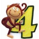 Lumanare aniversara Cifra 4 pentru tort Safari Monkey, Amscan RM551794, 1 buc