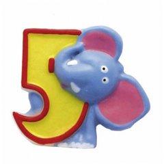 Lumanare aniversara Cifra 5 pentru tort Safari Elephant, Amscan RM551795, 1 buc