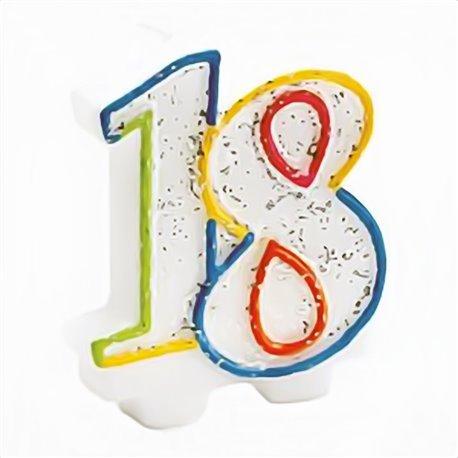 Lumanare aniversara pentru tort 18 ani, Multicolor, Amscan INT996452, 1 buc