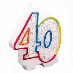 Lumanare aniversara pentru tort 40 ani, Multicolor, Amscan 996455, 1 buc