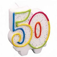 Lumanare aniversara pentru tort 50 ani, Multicolor, Amscan 996456, 1 buc