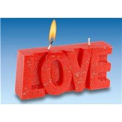 Lumanare aniversara rosie cu textul LOVE, Amscan 550521, 1 buc