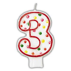 Lumanare aniversara Cifra 3 pentru tort cu buline colorate, Alb & Rosu, Amscan INT176003, 1 buc