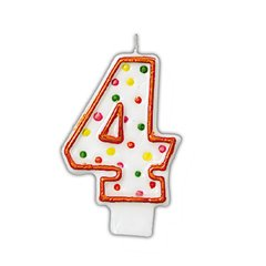 Lumanare aniversara Cifra 4 pentru tort cu buline colorate, Alb & Orange, Amscan INT176004, 1 buc