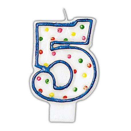 Lumanare aniversara Cifra 5 pentru tort cu buline colorate, Alb & Albastru, Amscan INT176005, 1 buc