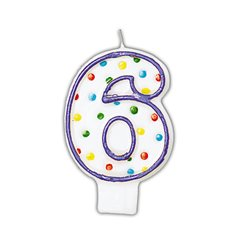 Polka Dots Birthday Candle Number 6, White & Violet, Amscan INT176006, 1 Piece