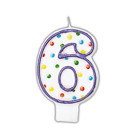 Lumanare aniversara Cifra 6 pentru tort cu buline colorate, Alb & Violet, Amscan INT176006, 1 buc