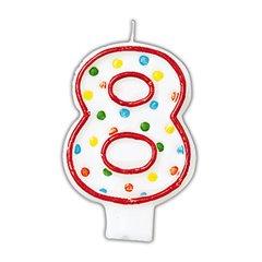 Lumanare aniversara Cifra 8 pentru tort cu buline colorate, Alb & Rosu, Amscan INT176008, 1 buc