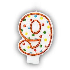 Lumanare aniversara Cifra 9 pentru tort cu buline colorate, Alb & Orange, Amscan INT176009, 1 buc