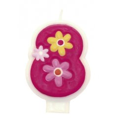 Candle Number 8 Pink Flowers Girls, Amscan RM551748, 1 Piece