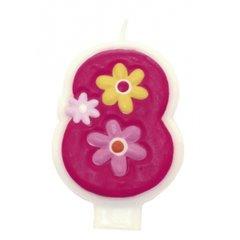 Lumanare aniversara Cifra 8 pentru tort cu floricele roz, Amscan 551748, 1 buc