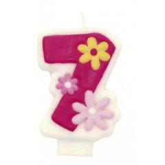 Lumanare aniversara Cifra 7 pentru tort cu floricele roz, Amscan RM551747, 1 buc