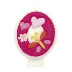 Lumanare aniversara Cifra 0 pentru tort cu floricele roz, Amscan RM551740, 1 buc