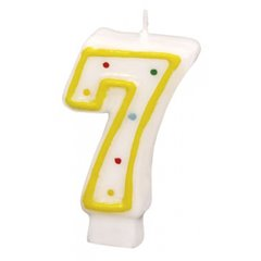 Lumanare aniversara Cifra 7 pentru tort cu buline colorate, Alb & Galben, Amscan RM550287, 1 buc