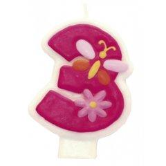 Lumanare aniversara Cifra 3 pentru tort cu floricele roz, Amscan 551743, 1 buc