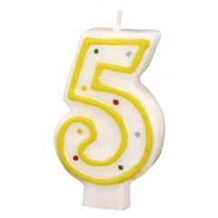 Lumanare aniversara Cifra 5 pentru tort cu buline colorate, Alb & Galben, Amscan RM550285, 1 buc