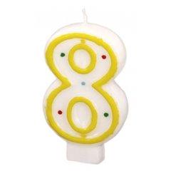 Lumanare aniversara Cifra 8 pentru tort cu buline colorate, Alb & Galben, Amscan RM550288, 1 buc