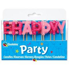 Lumanari aniversare pentru tort cu mesajul Happy Birthday, Qualatex 27680