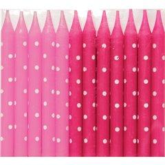 Lumanari aniversare pentru tort roz cu buline albe, Qualatex 27514, Set 24 buc