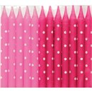 Pink Polka Dot Candles, Qualatex 27514, Pack of 24 pieces