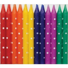 Assorted Polka Dot Candles, Qualatex 27610, Pack of 24 pieces