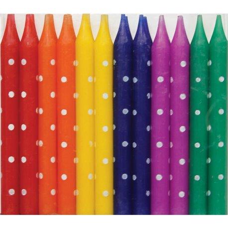 Lumanari aniversare pentru tort multicolore cu buline albe, Qualatex 27610, Set 24 buc