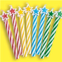 Assorted Candles with Stars, Amscan INT175217, Pack of 8 Pieces