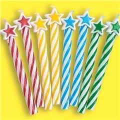 Lumanari aniversare pentru tort multicolore cu stelute, Amscan 175217, Set 8 buc