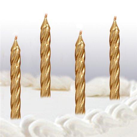 Lumanari aniversare pentru tort spiralate aurii, Amscan 17130-19, Set 10 buc