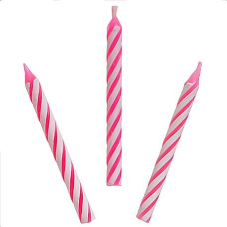 Lumanari aniversare pentru tort spiralate roz, Amscan 17105-06, Set 24 buc