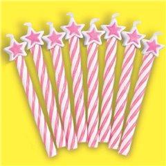 Lumanari aniversare pentru tort roz cu stelute, Amscan 175221, Set 8 buc
