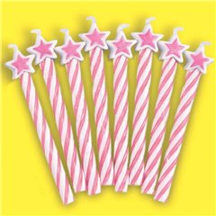 Pink Candles with Stars, Amscan INT175221, Pack of 8 Pieces
