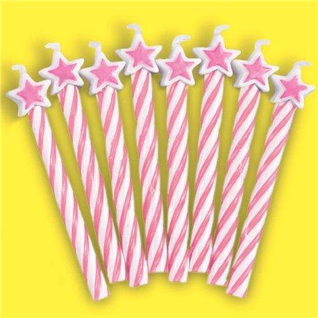 Lumanari aniversare pentru tort roz cu stelute, Amscan INT175221, Set 8 buc